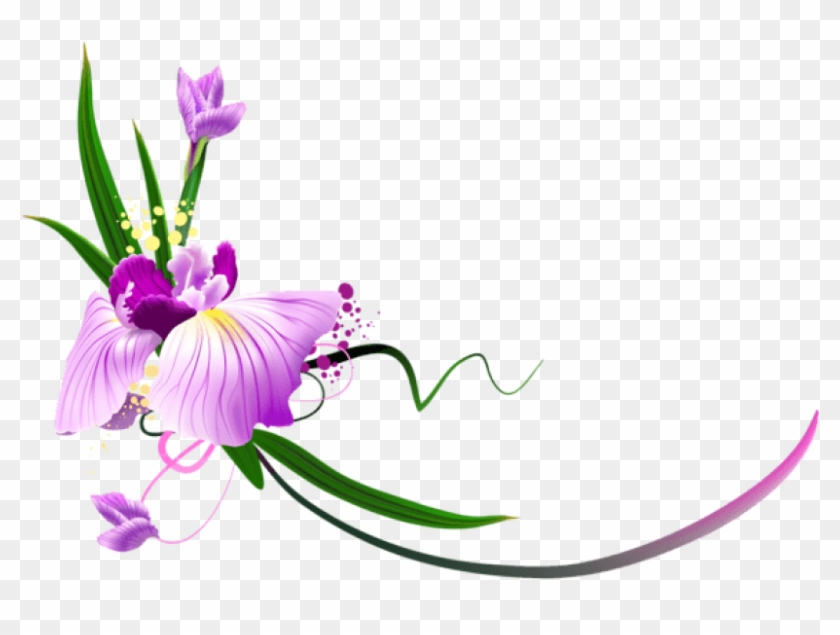 Free Png Download Beautiful Purple Floral Decor Clipart - Flowers Clip Art Border Png #1708087