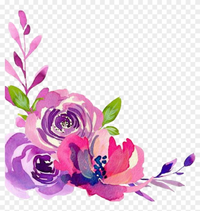 Ftestickers Sticker - Watercolor Flower Corner Border Png #1714240