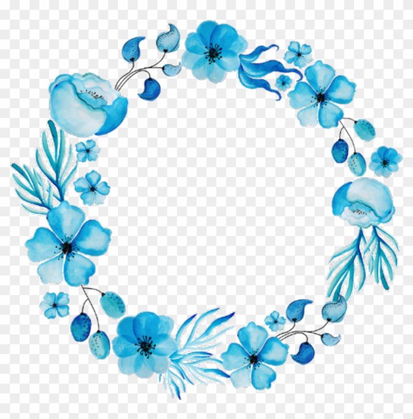 Ftestickers Flowers Frame Circle Watercolor Blue - Blue Flower Wreath Png #1714256