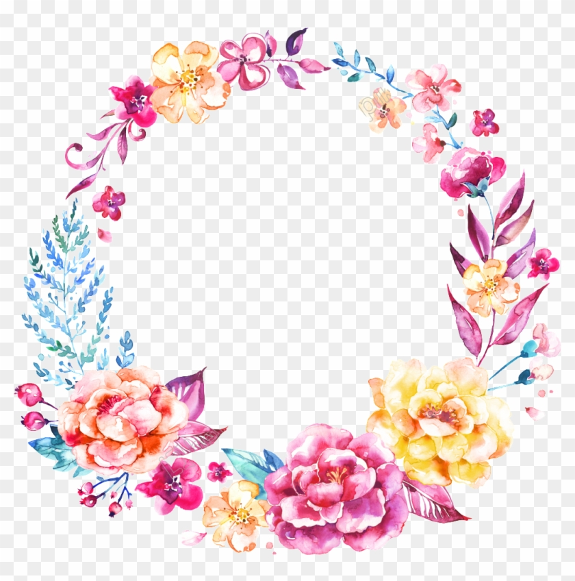 Png Hand Painted Watercolor Flower Free - Watercolor Wreath Flower Png #1714303