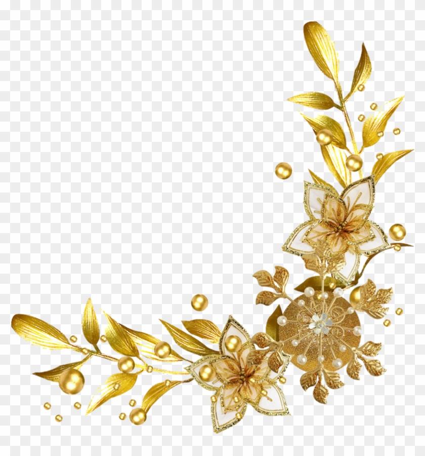 #frame #border #divider #corner #header #textline #line - Gold Flower Border Png #1715025