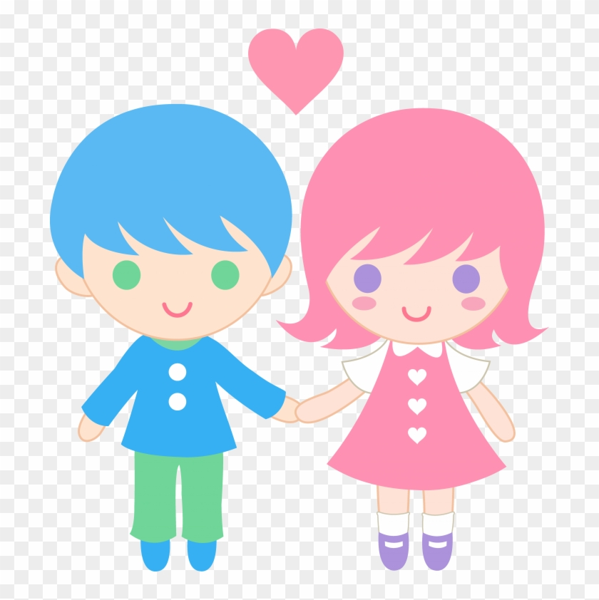 Child Showing Love Png - Boy And Girl Holding Hands Clipart #1720067