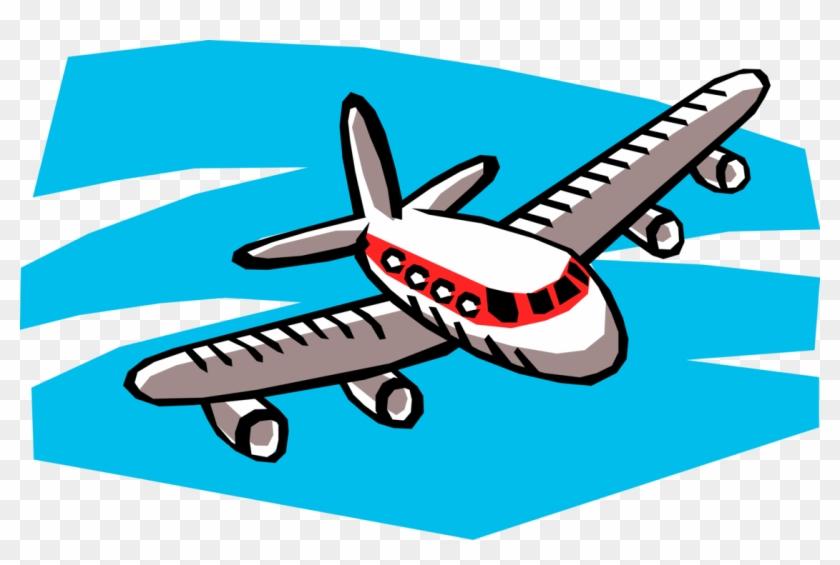 Aircraft In Flight Vector Image Illustration Of Cartoon Of A