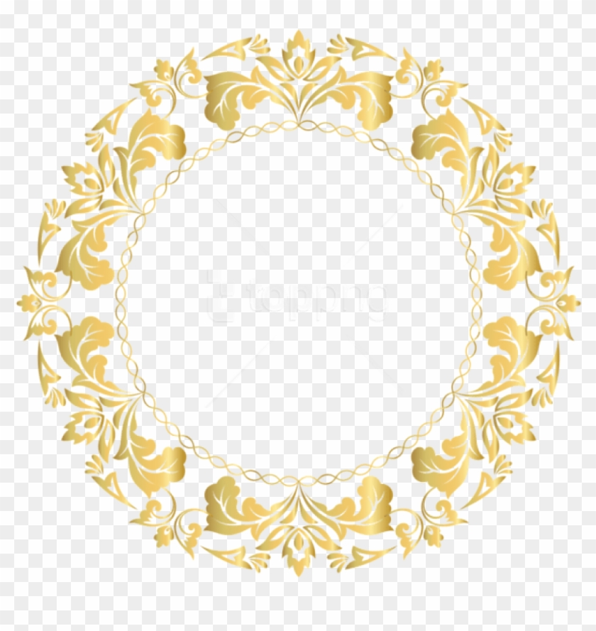 Free Png Download Floral Gold Round Border Frame Clipart - Gold Circle Border Design #1729274