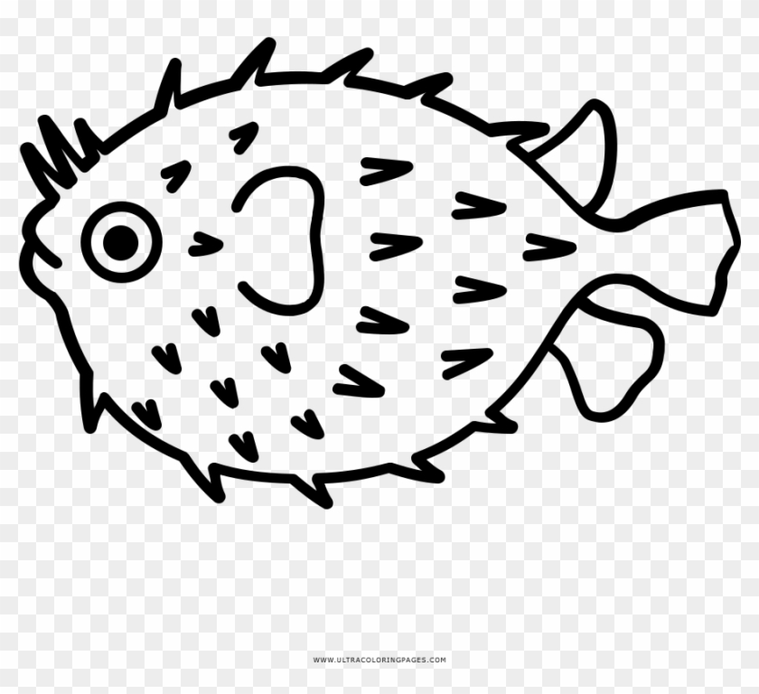 Blowfish Clipart Fugu - Drawing Of Puffer Fish #1730610