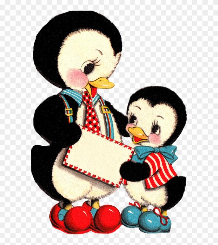 Penguin Clipart Vintage - Vintage Cards Cute Penguins #262687
