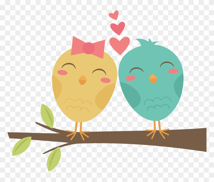 Lovebirds On Branch Svg Cut Files For Scrapbooking - Birds In Love Png #263284