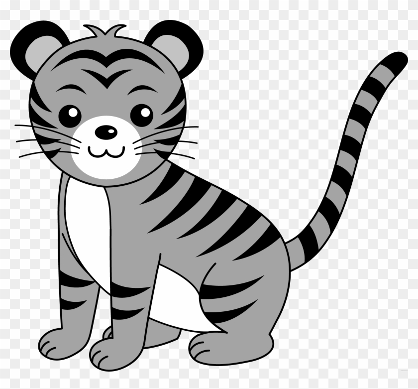 Baby Animals Animal Free Black White Clipart Images - Tiger Clipart #263364
