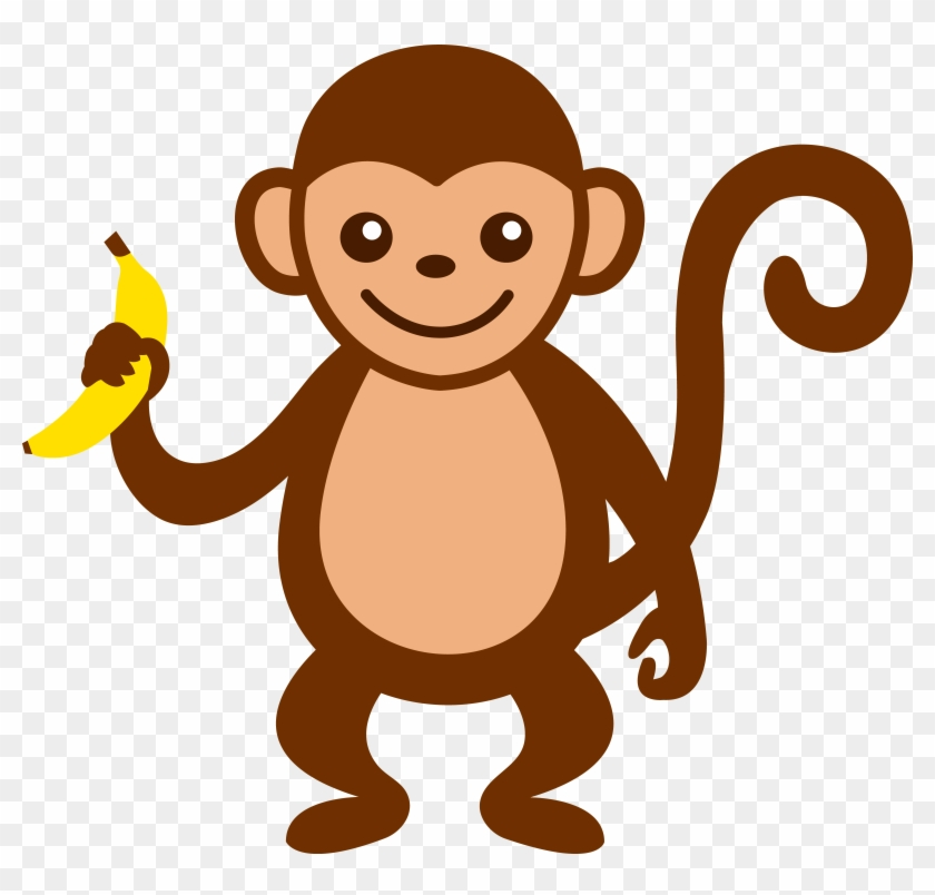 Baby Animal Clipart Unusual Pencil And In Color Baby - Cartoon Monkey #263379