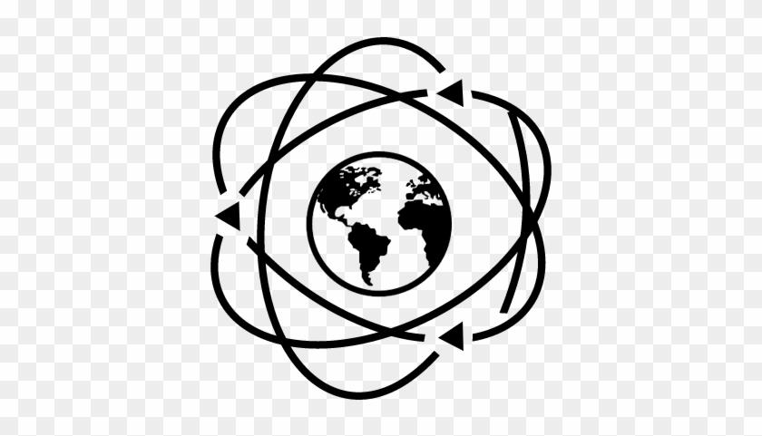Earth In Atom Symbol Vector - Earth Globe Globe Black And White Clipart #1733356