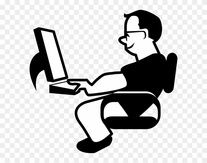 Animated Person Using Computer #1735669