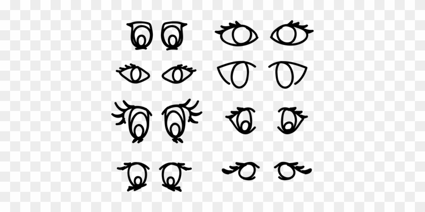 Eyes, Eye, Look, Woman, Female, Vision - Cartoon Eyeballs Black And White Clipart #1745447