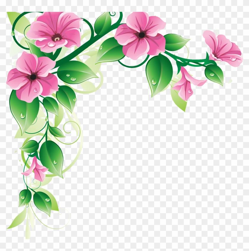 Download Floral Border Clip Art - Flower Corner Design Png #1749690