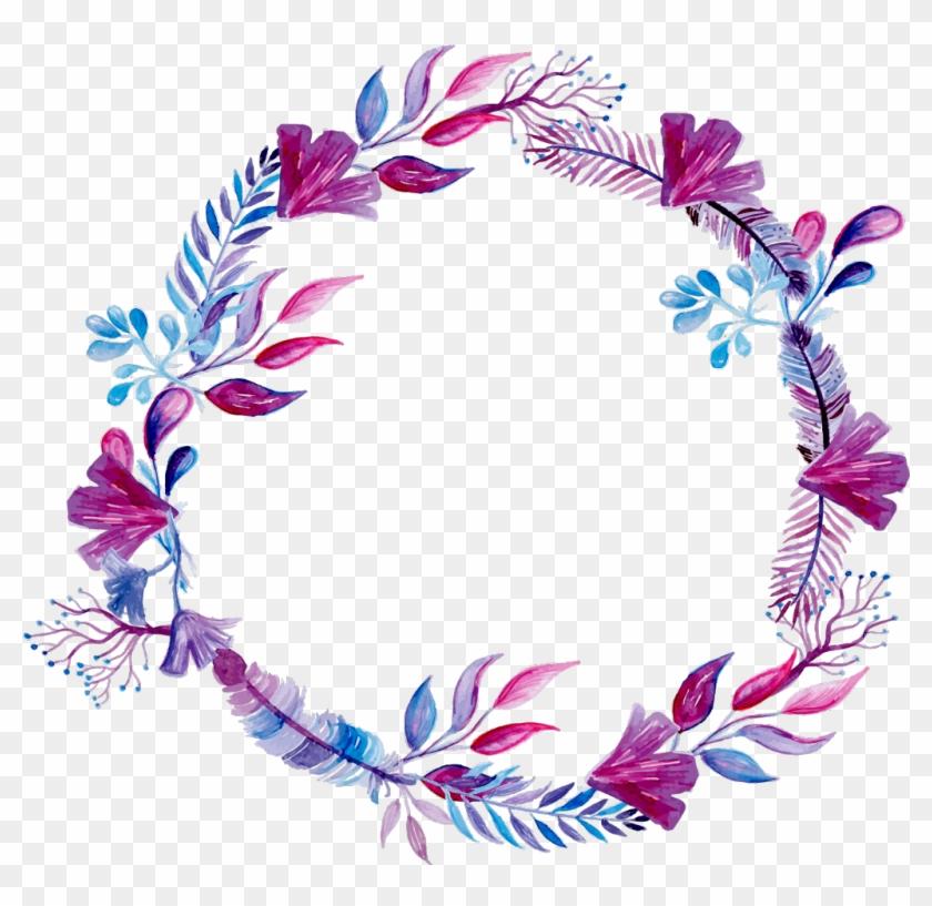 #purple #watercolor #wreath #ink #paint #flowers #freetoedit - Wreath Design For Wedding #1750685