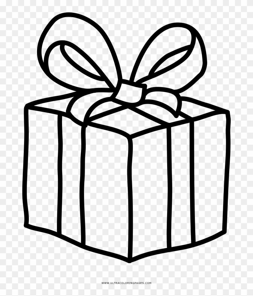 Christmas Gift Coloring Page - Christmas Present Drawing Png #1752238