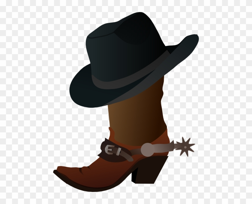 Damon Clip Art - Cowboy Boot And Hat Clipart #1755125