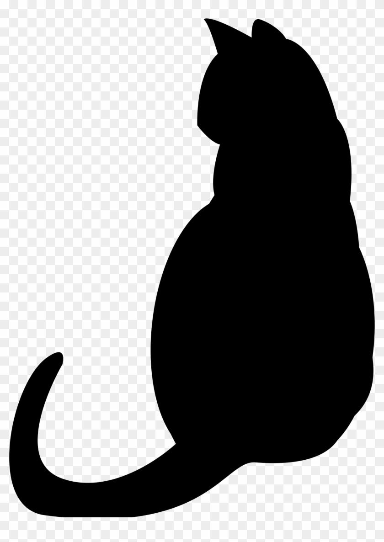 Download Black Cat Silhouette Kitten Clip Art - Fat Cat Silhouette ...
