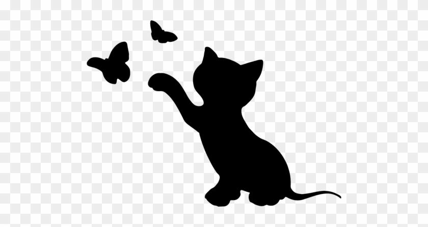 Kitten And Butterflies Public Domain Vectors Gato Silueta Free