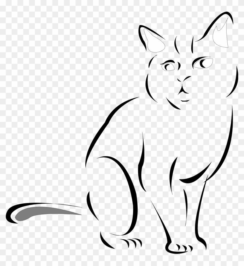Kitten Clipart Line Drawing - Cat Line Drawing Transparent #265313