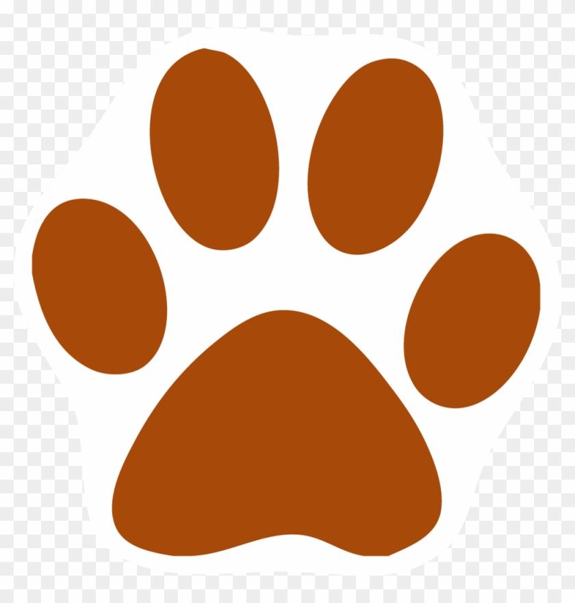 Orange Cat Clipart - Purple Cat Paw Print #265539