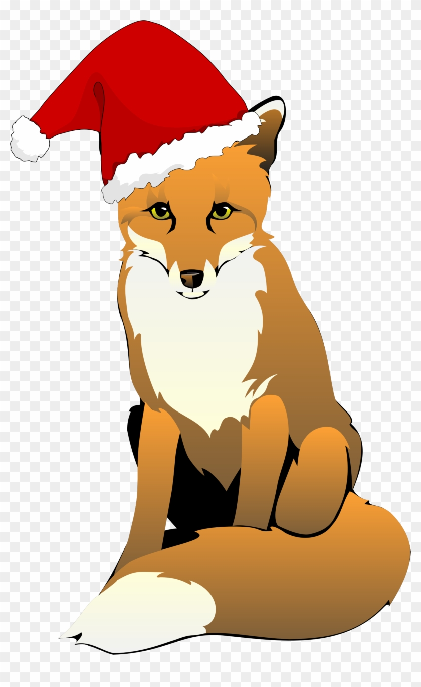 Fox Clipart Royalty Free - Fox With Santa Hat #266156
