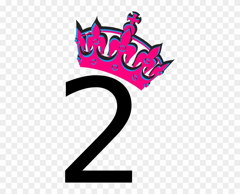 Pink Tilted Tiara And Number 2 Clip Art At Clker - Number 2 In Pink #266734