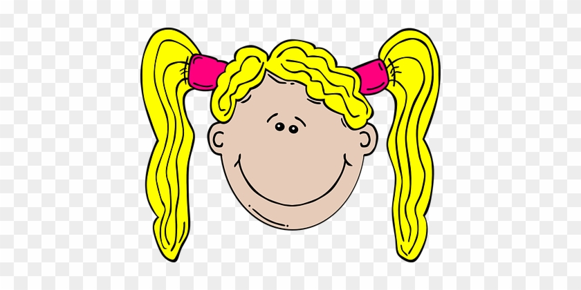 Clip Art Image of Little Girl in Pigtails - Royalty Free Clipart  Illustration
