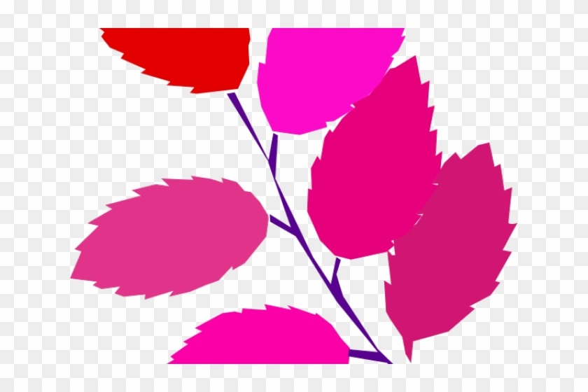 Pink Leaf Cliparts - Simple Tree Leaves Drawing #1762564