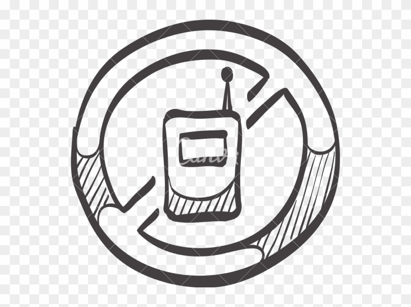 Sketch Icon Of A No Cell Phone Sign - No Cell Phone Sketch #268017