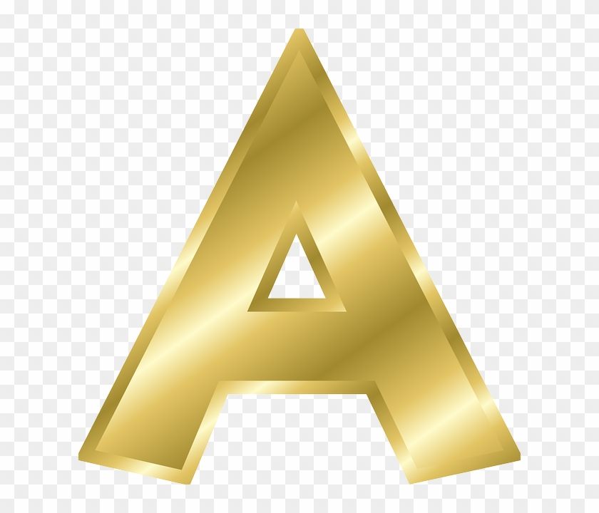 Letter, A, Capital Letter, Alphabet, Abc, Gold - Alphabet Letters Clip Art #268432