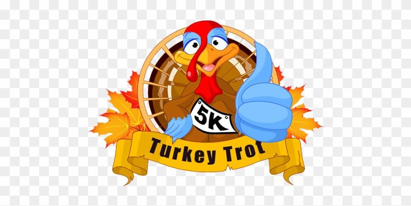 Turkey Trot 5k - Thanksgiving Turkey Serving Pumpkin Greeting Card #269010