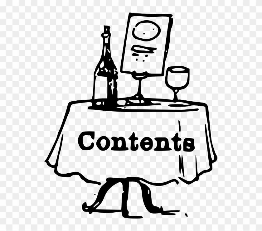 Contents On A Table Black White Line Art 555px - Table Of Content Clipart #269336