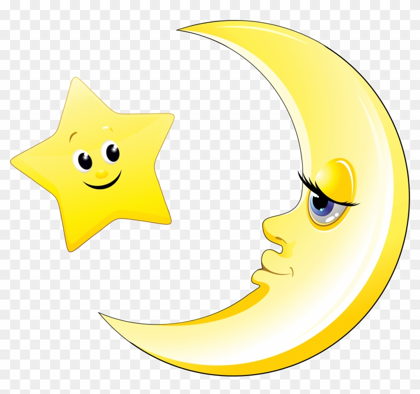 Transparent Cute Moon And Star Clipart Picture - Dibujos Lunas Y Estrellas #269710