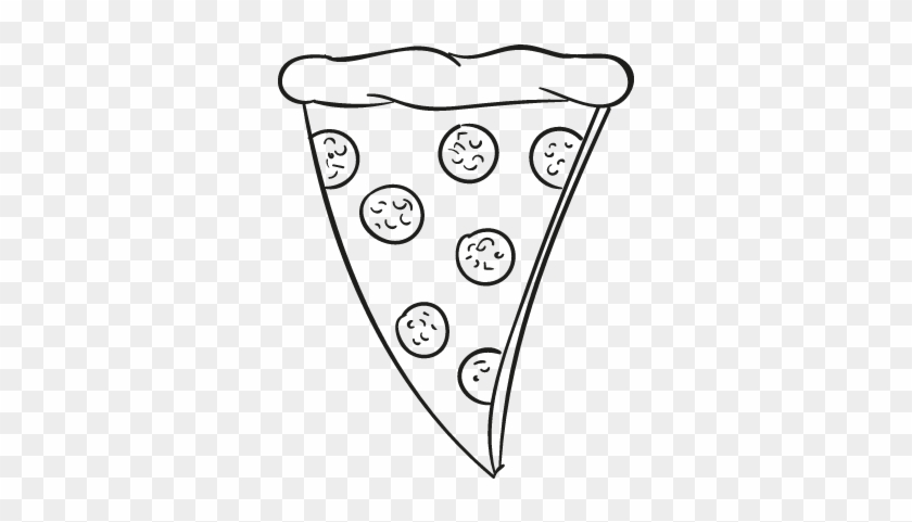 Pepperoni Pizza Clipart Black And White - Pizza Slice Drawing Png #270438