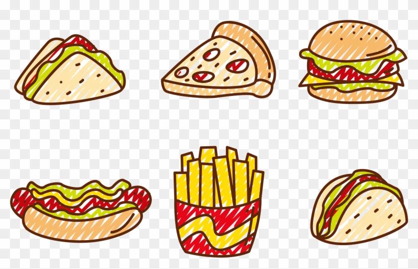 Fast Food Hamburger Pizza Hot Dog Club Sandwich - Fast Food Vector #270744