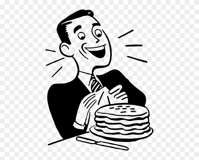 Man Eating Pancakes Clip Art