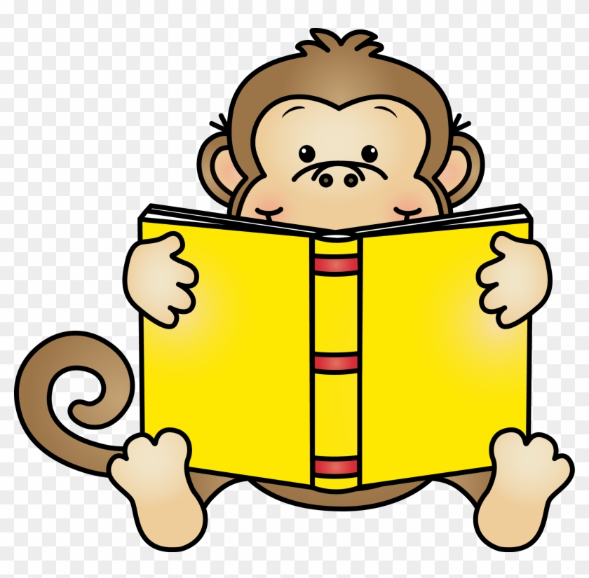 Monkey Reading A Book Clipart #44813