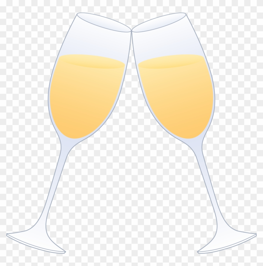Glasses Of Champagne Clinking - Two Wine Glasses Clinking Cartoon #45300