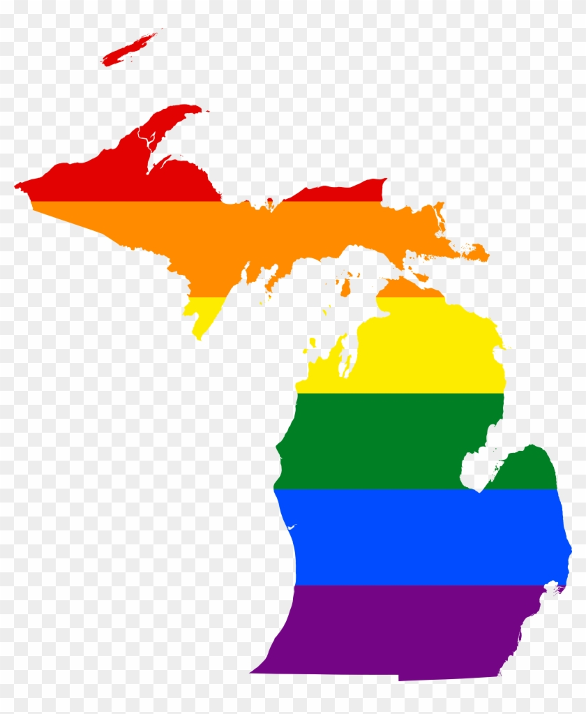 Unequal By Law - Michigan Flag Map #45589