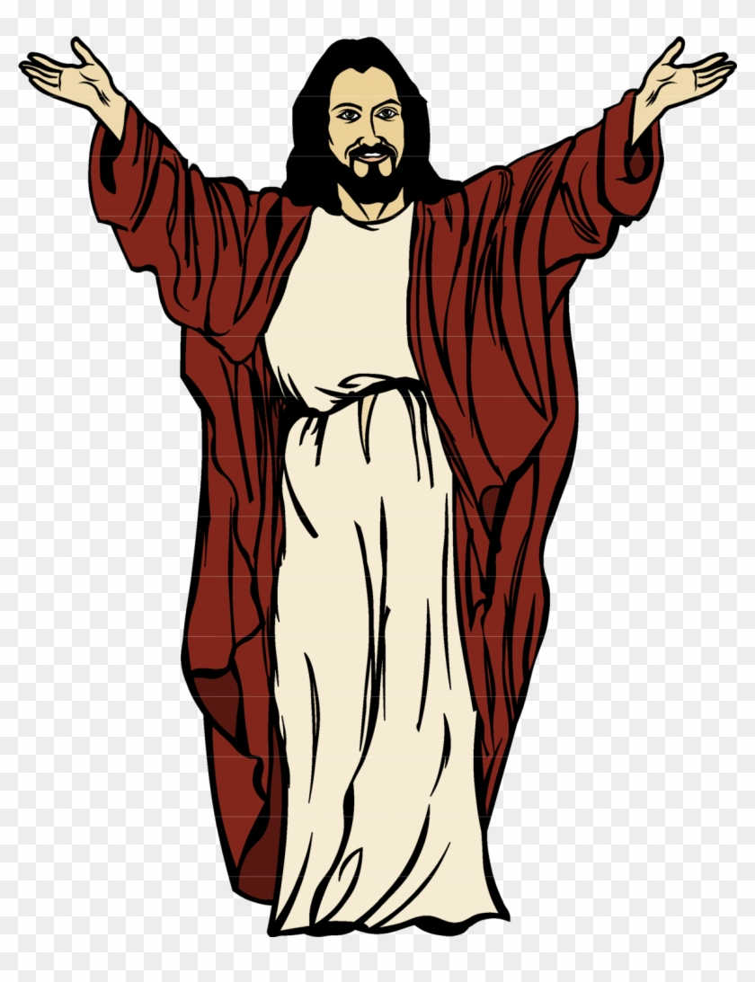 Jesus Cartoon Drawing Clip Art - Cartoon Jesus With Open Arms #46187