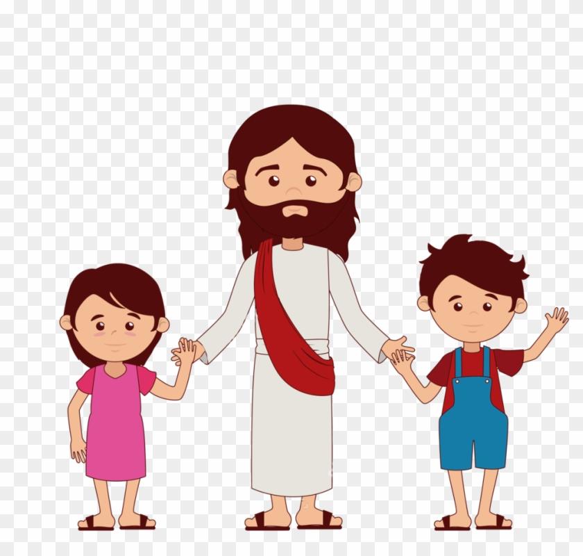 Jesus Vector - Jesus Holding Child Cartoon #46242