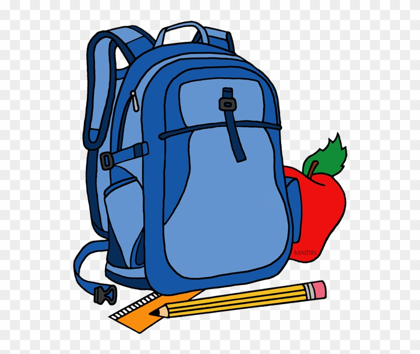 School Clip Art By Phillip Martin Backpack - Clipart School Backpack #46371
