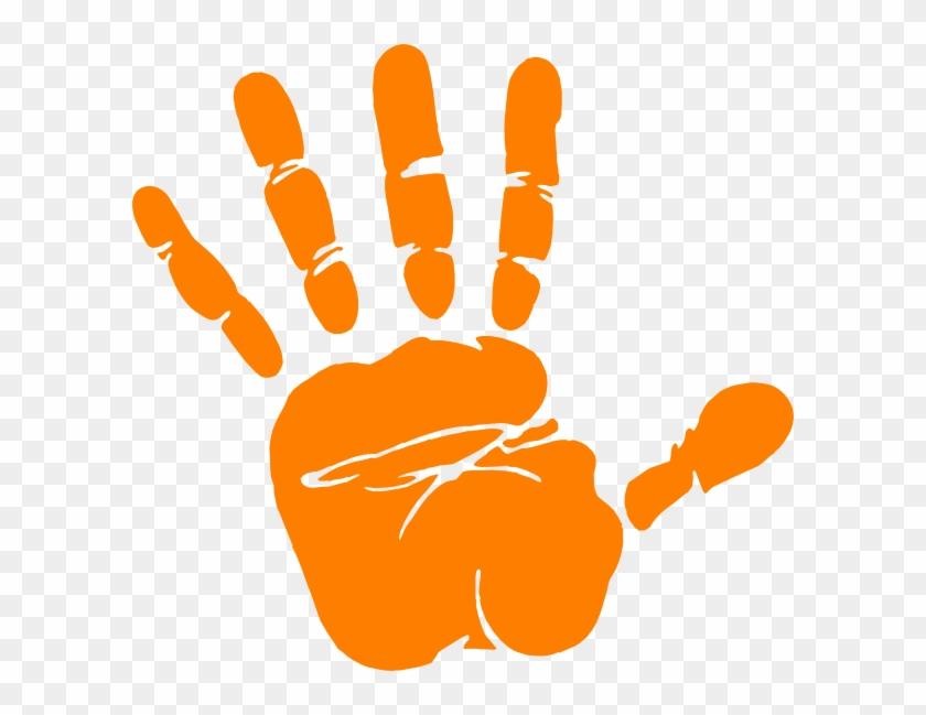 Hand Print Clip Art At Clker Com Vector Clip Art Online - Hand Print Orange #47025