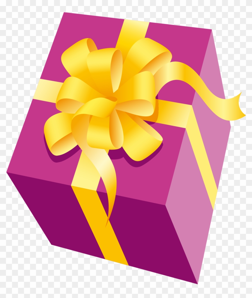 Gift Clipart Yellow - Pink And Yellow Present #47429