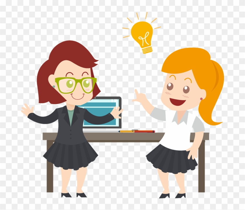 Two Business Woman With Idea Light Bulb - Portable Network Graphics #47460