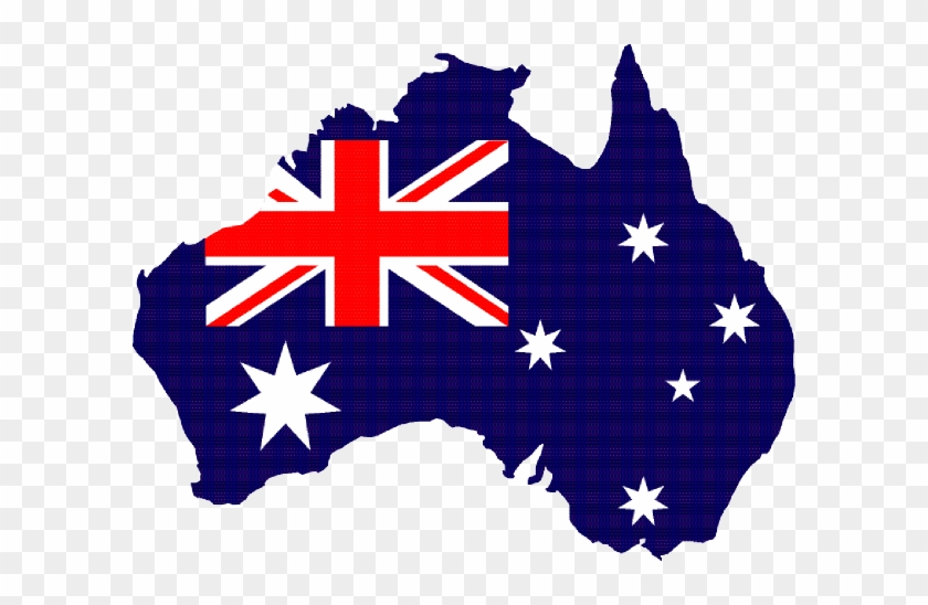 Australia Clip Art - Map Of Australia With Flag Inside #47561