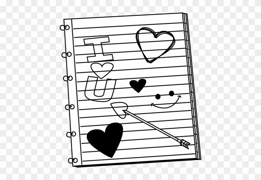Black And White Valentine's Day Notebook Scribbles - Valentine Day Clip Art Black And White #47816