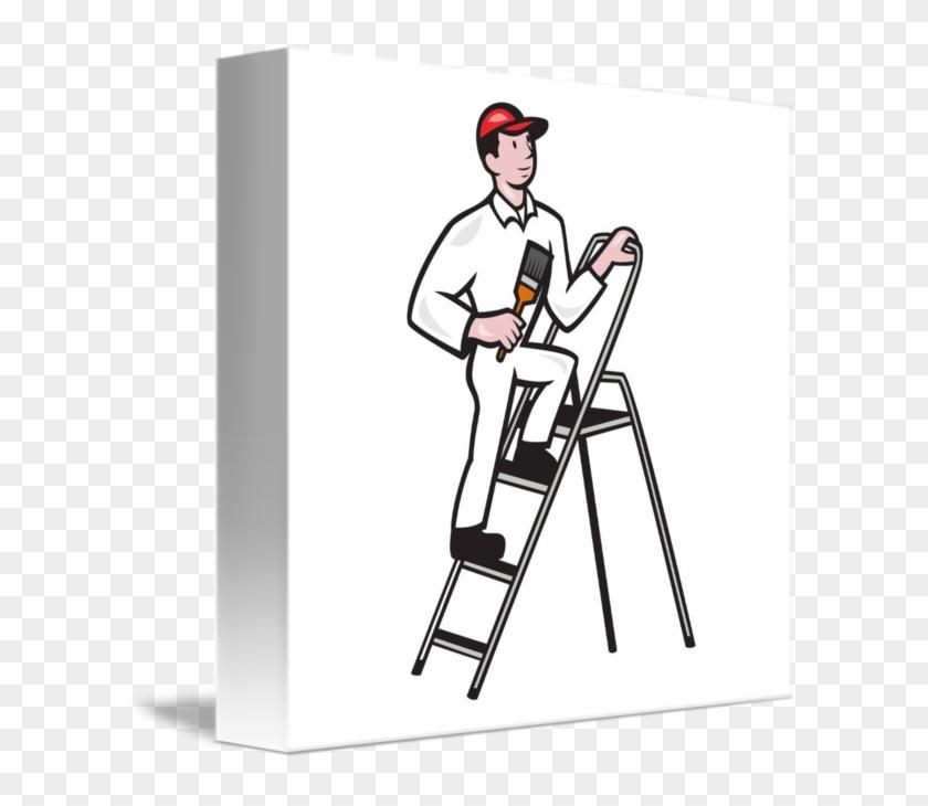 Under Ladder Cliparts Clip Art On - Clipart Mann Auf Leiter #48157