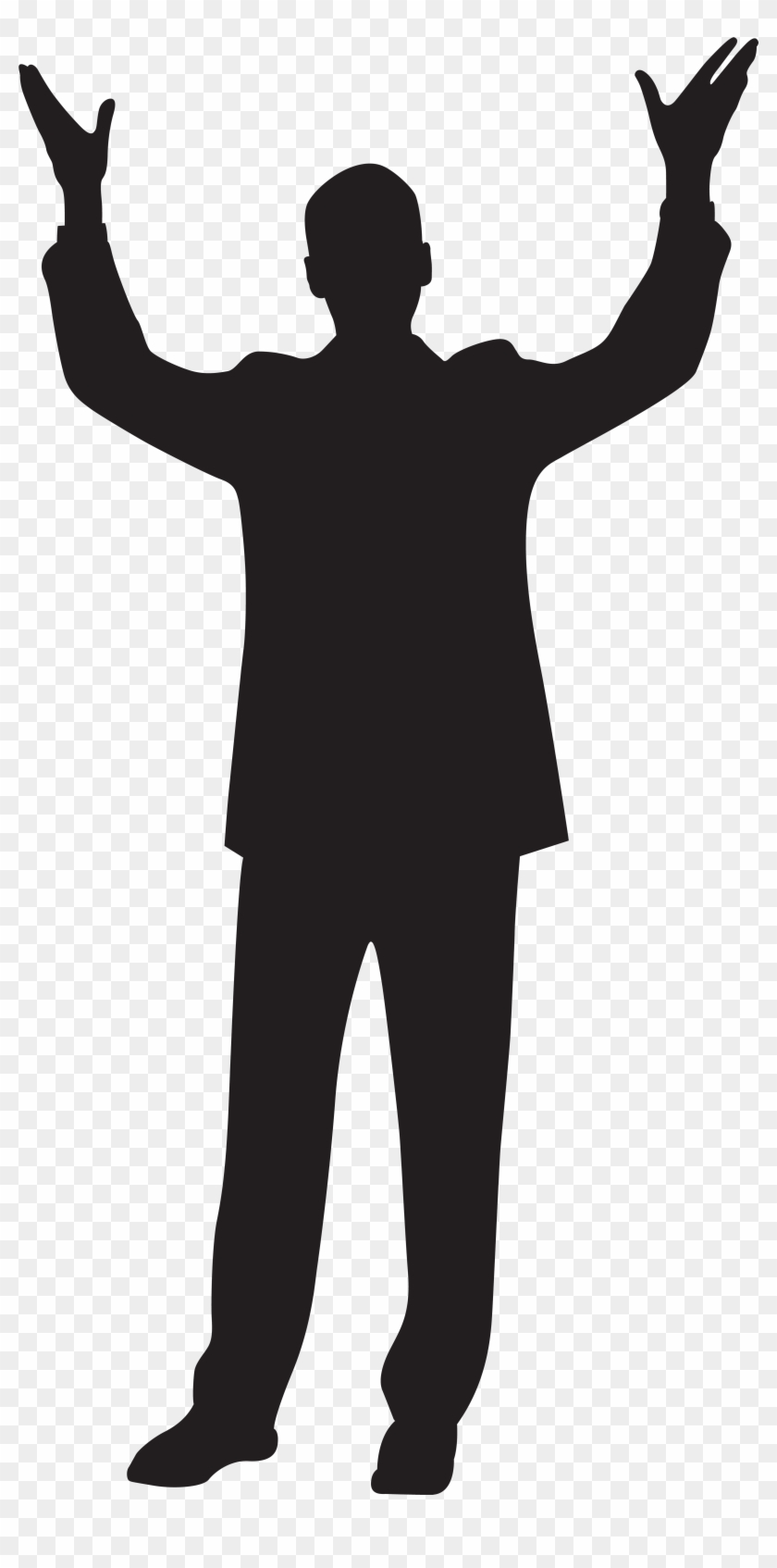 Man With Hands Up Silhouette Clip Art Imageu200b Gallery - Men Dance Vector #48208