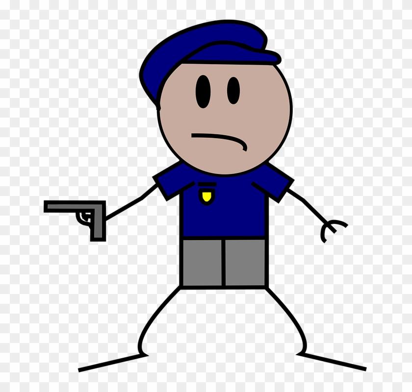 Cop, Pistol, Gun, People, Police - Police Stick Figure #48357